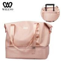 Women Luggage Travel Duffle Bag Girls Glitter Waterproof Nylon Organizer Bags Large Travelling Crossbody Shoulder Tote XA868WB