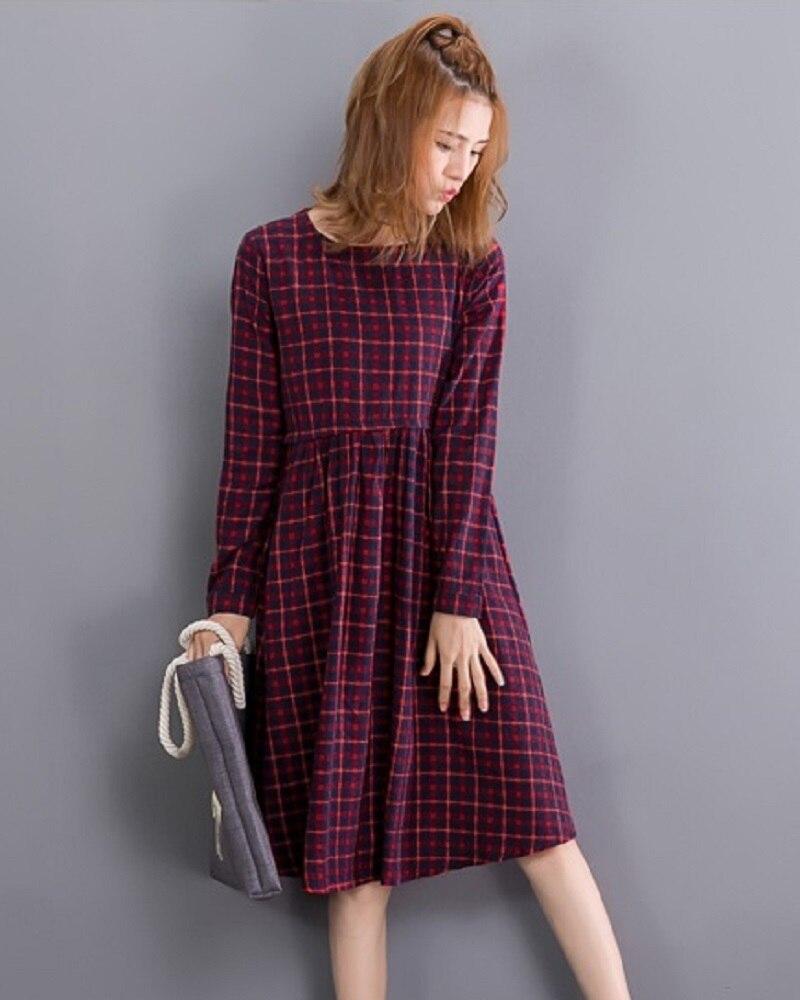 fbd063aeb18ee 2019 Vintage Spring Autumn Women Midi Dress Fashion O Neck Plaid F...