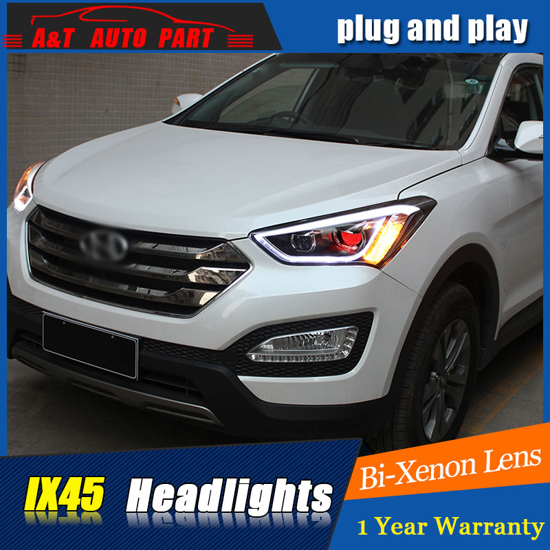 Auto.Pro Car Styling for Hyundai IX45 LED Headlight New SantaFe Headlight DRL Lens Double Beam H7 HID Xenon bi xenon lens hireno headlamp for hodna fit jazz 2014 2015 2016 headlight headlight assembly led drl angel lens double beam hid xenon 2pcs