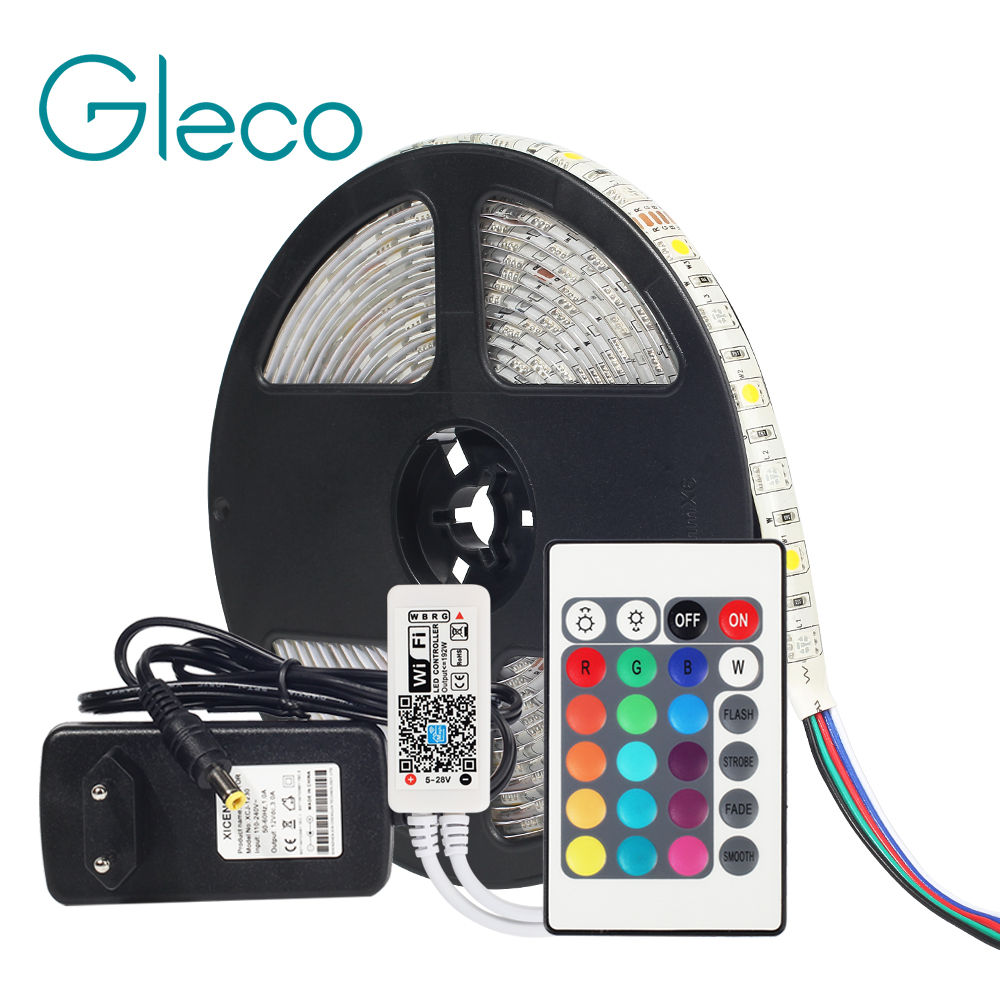 Dc12v 5050 led strip rgb rgbw rgbww 60 leds/m 5 m com mini wifi/bluetooth controlador e 3a fonte de alimentação led strip conjunto