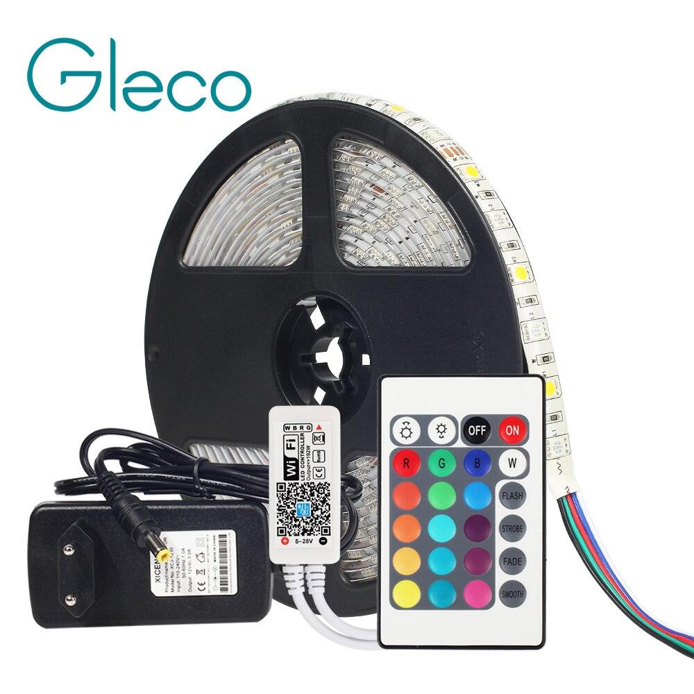 Dc12v 5050 led strip rgb rgbw rgbww 60 leds/m 5 m com mini wifi/bluetooth controlador e 3a fonte de alimentação led strip conjunto