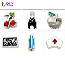 10 Uds Mini encantos flotantes de aleación de Zinc ajuste medallones flotantes colgantes collar y medallón flotante pulsera LSFC017-612