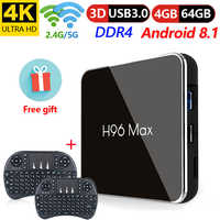 H96 Max X2 Android 8.1 Smart TV BOX Amlogic S905X2 LPDDR4 Quad Core 4GB 64GB 2,4G & 5GHz Wifi BT USB3.0 H.265 4K IPTV Set top box