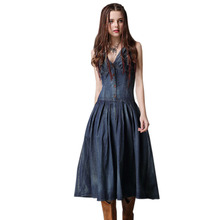 Women denim Dresses Summer new vest V-neck elastic waist Dress vintage cotton dresses