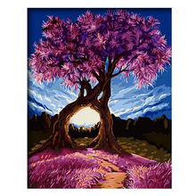 цена RIHE Love Tree Diy Painting By Numbers Flower Path Oil Painting On Canvas Sky Hand Painted Cuadros Decoracion Acrylic Paint Art