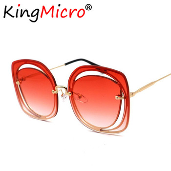 New Metal Hollow Out Sunglasses Woman Fashion Trend Retro Personality Square Ocean Piece Sun Glasses UV400 Gradient Color Shades