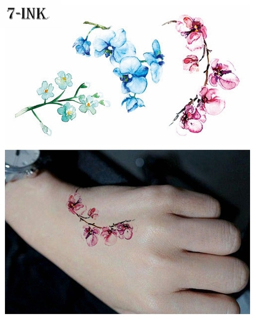 63ddbb3d2 Water Transfer fake tattoo watercolor Peach blossom flower tatoo Waterproof  Temporary flash tatto for woman gril
