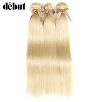 Debut Peruvian Straight Hair Weaving 613 Honey Blonde Bundles 1/3/4 Bundles Remy Hair Extension Human Hair Bundles 10 26 Inch