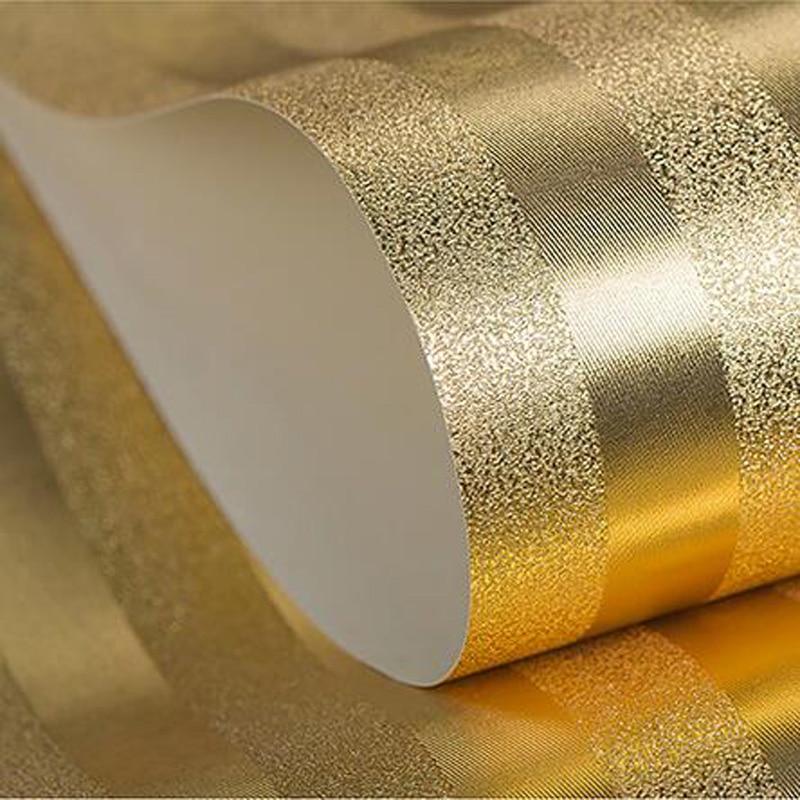 Q QIHANG moderne luxe or et argent PVC salon papier peint Commercial 0.53 m * 10 m = 5.3m2