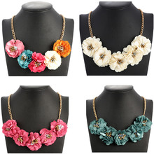 Fashion Maxi Necklaces Gold Box Chain Women Necklace Statement Necklaces & Pendants Flower Necklace For Women Summer Jewelry(China)