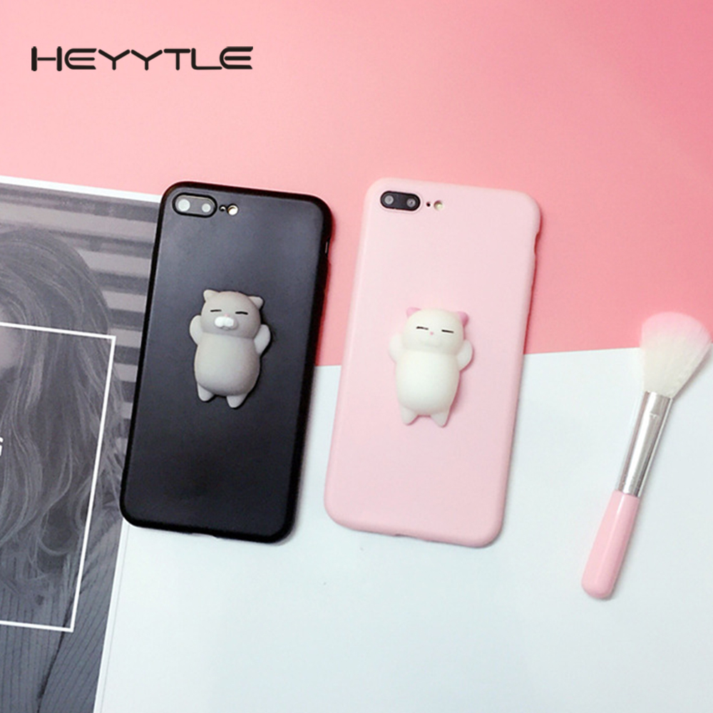 Heyytle 3D Squishy Cute Cat <font><b>Phone</b></font> Case For Apple iPhone X 8 7 <font><b>6S</b></font> 6 Plus 5 5S 5C SE Stress Reliever Back Cover Patterned Cases