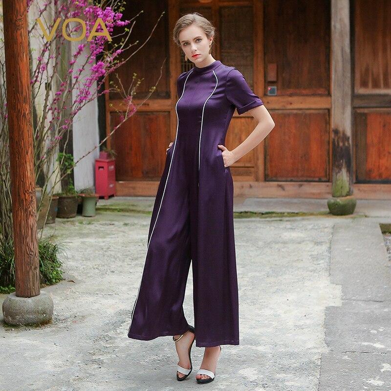 VOA Heavy Silk Women Loose Jumpsuits Plus Size Purple Casual Solid Slim Wide Leg Pants Spring Short Sleeve Pockets KLH00501