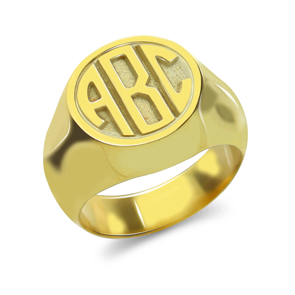 Sweey Dropshipping Customized Signet Ring with Block Monogram Circle Signet Ring Silver/Gold/Rose Gold Birthday Gift