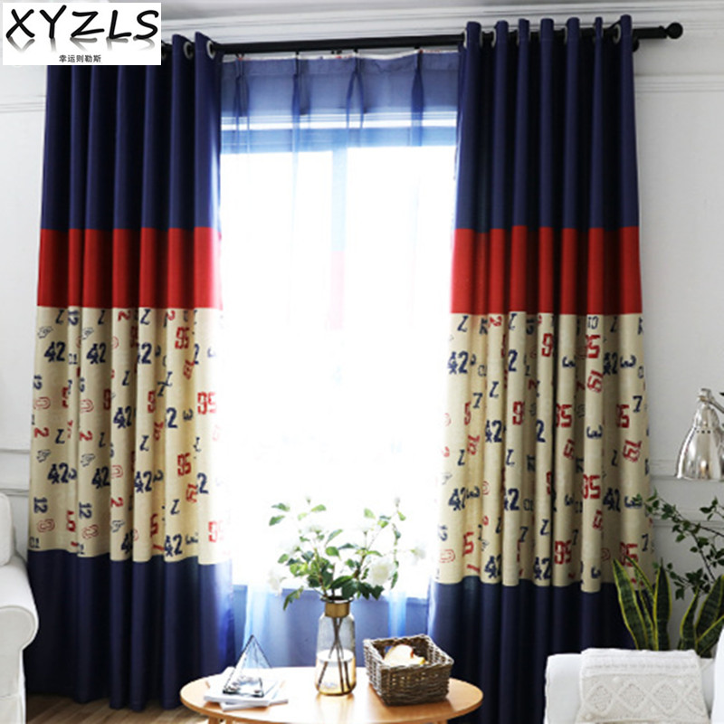 XYZLS New Blue Red Letter Blinds Blackout Curtains Sheer Tulle Curtain For  Living Room Bedroom Window
