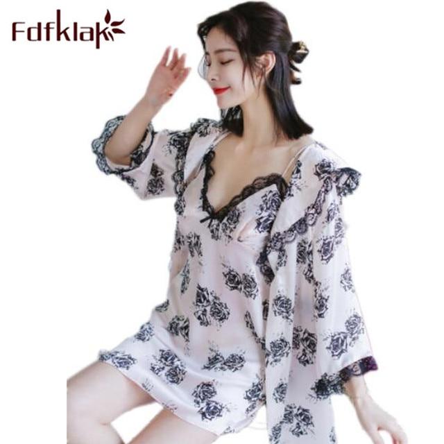 3e9dcff618 Fdfklak Two Piece Nightgown Robe Set Spring Print Silk Sleep Lounge With  Lace Robe Women Sleepwear Robe Bathrobe Nightdress Q760