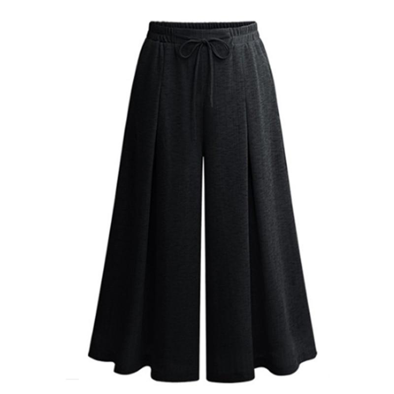 New 2018 Summer European Style Drawstring Trousers Plus Size 5XL Women   Capris   Wide Leg   Pants   Loose Casual Anklet Length   Pant