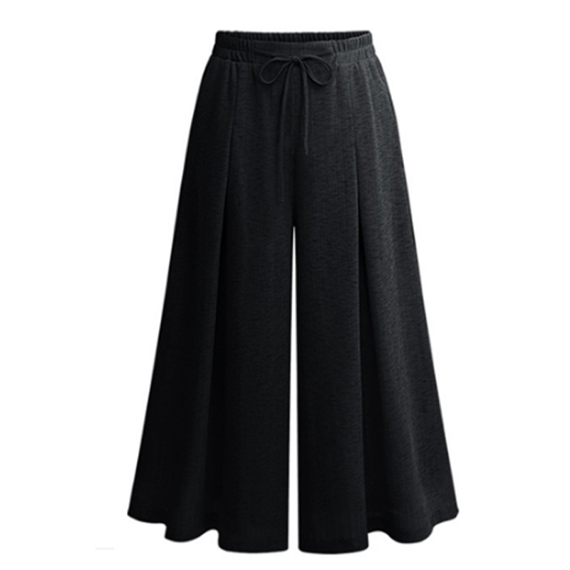 New 2019 Summer European Style Drawstring Trousers Plus Size 5XL Women Capris Wide Leg Pants Loose Casual Anklet Length Pant