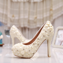 Fantastic Free Shiping Ivory Pearl Wedding Shoes High Heel Rhinestone Bridal Shoes Platform Pumps Mother of the Bride Shoes
