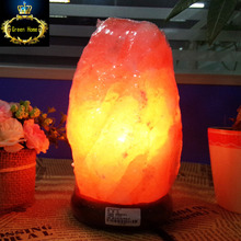 Himalayan Salt Lamp Natural Mineral Rock Light with Neem Wood Base + Plug + Switch + 3W Lamp for Air Purification Therapy