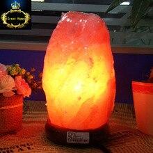 Гималайская соляная лампа натуральный минеральный камень свет с Neem деревянная база + штекер + переключатель + 3 Вт лампа для очистки воздуха терапия