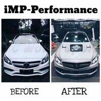 Автомобиль Интимные аксессуары углерода Волокно imp P Стиль капот подходит для 2015 2016 МБ w205 C63 седан капюшон крышка с Стекло