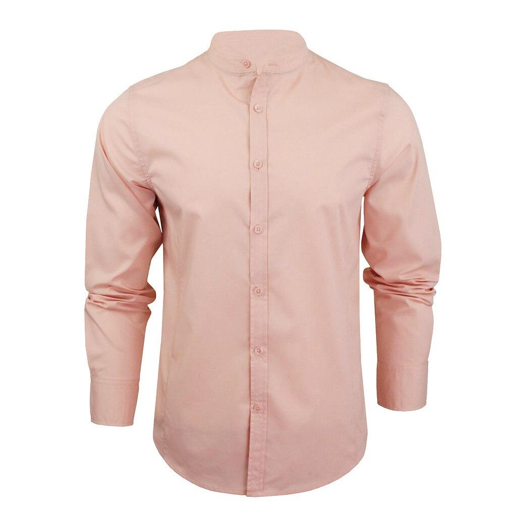 Aufrichtig Frühling Herbst Männer Shirts Plus Größe Langarm Slim Fit Grundlegende Streetwear Büro Rosa Männlich Social Shirts Tops Kleidung 3xl FüR Schnellen Versand Hemden