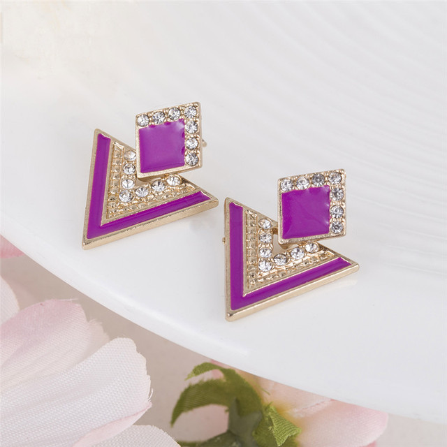 Hot Sale Brincos Colorful Enamel Rhinestone Party Earring Geometric Drop Triangle Earrings for Women Fashion Accessories Jewelry 4