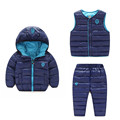 2016 зима детская одежда пиджак теплый утка пуховик мальчиков и девочек комплектов одежды костюм с-3 шт.