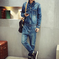 2016 Autum New Arrival Mens Denim Jumpsuit Overalls Full Sleeve Slim Straight Jeans Casual Pants Jumpsuits Working Clothes A2036