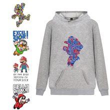 Game Mario Bros Cartoon Printed Trendy Unisex Harajuku Hoodie with Kangaroo Pocket Winter Junior Pullover A193161