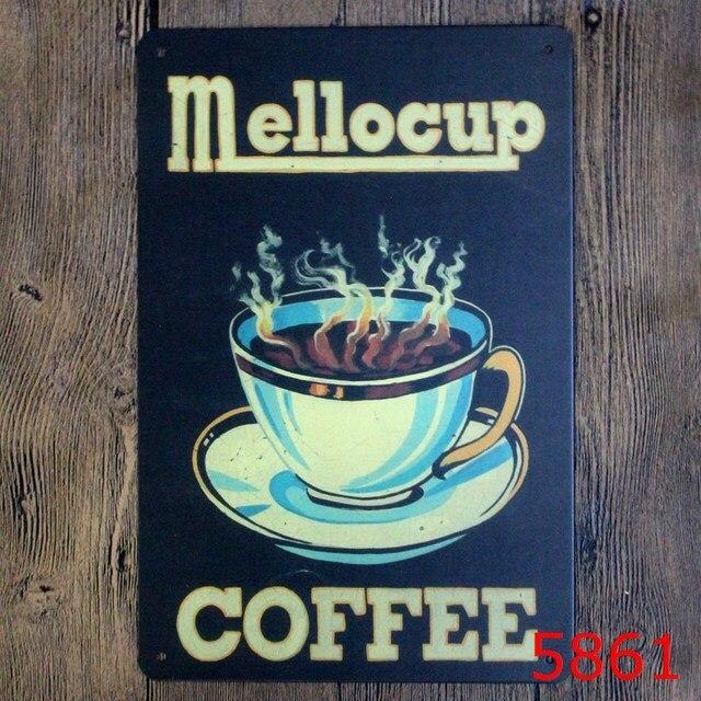 30X20CM Mello Coffee Cup Vintage Home Decor Tin Sign Pub Wall ...