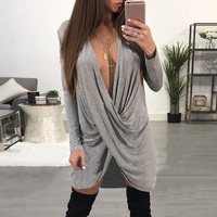 ZANZEA Summer 2018 Women Dress Long Sleeve Vestido Irregular Crossed Sexy Deep V Party Loose Dresses