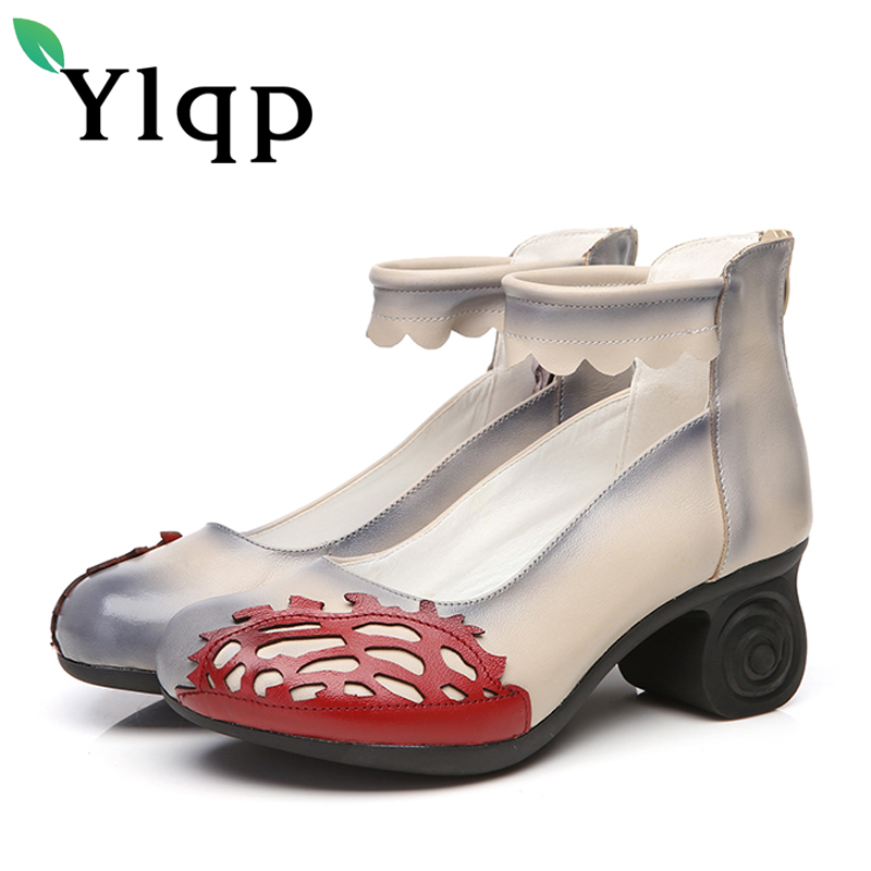 Ylqp Brand Ladies National Wind Spring Summer Casual Flower High Heels Female Shoes Women Genuine Leather Pumps Chaussures Femme flower embroidery jeans female light blue casual pants capris 2017 spring summer pockets straight jeans women bottom mz1524
