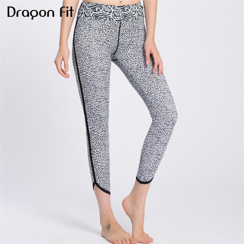 Dragon Fit Printing Patchwork Breathable Yoga Leggings Women Compression Quick Drying Elastic Sport Leggings Jogging Yoga Pants