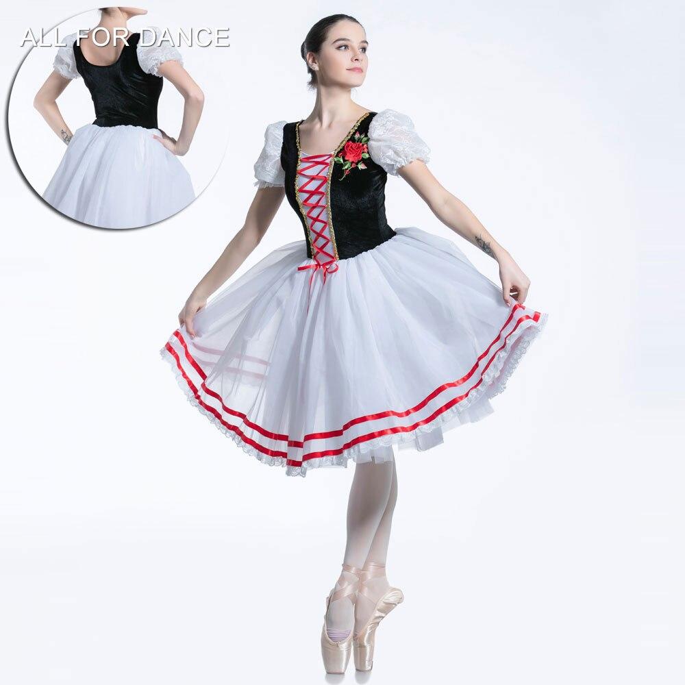 All For Dance New Black Velvet Bodice Top With White Tulle Red Ribbon Ballet Stage Performance Dance Long Dress Dancewear