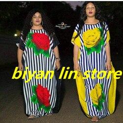 6colors2017 neue mode 100% baumwolle drucken elastische hülse lose stil dashiki berühmte marke streifen lange kleider für dame FÜR PARTY