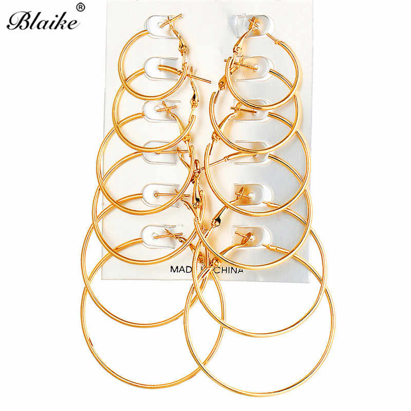 Blaike 6 Pairs/Set Big Small Round Circle Hoop Earrings Sets For Women Vintage Gold/Silver Color Punk Jewelry Party Accessories