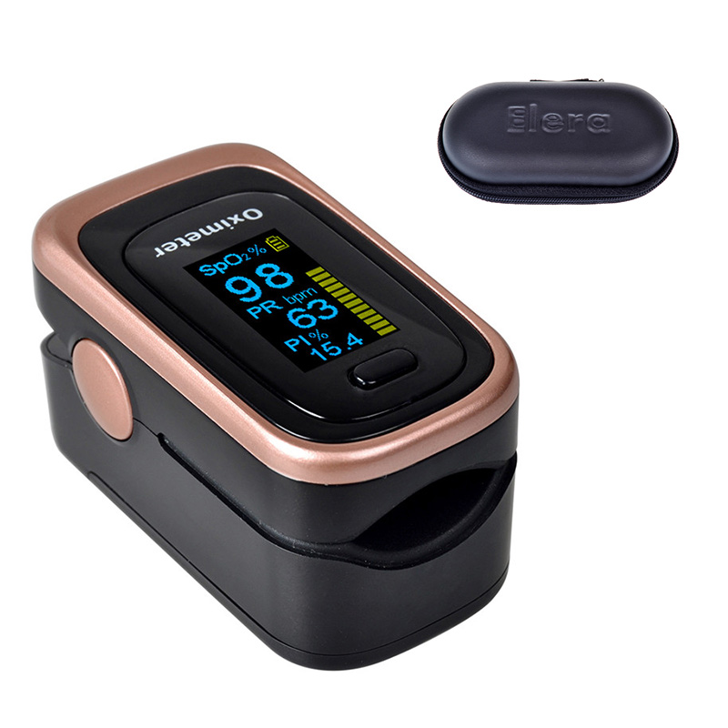 ELERA Finger Pulse Oximeter 4 Parameter SPO2 PR PI ODI4 Oximetro De Dedo 8 Hour Sleep Monitoring Pulsioximetro with Case