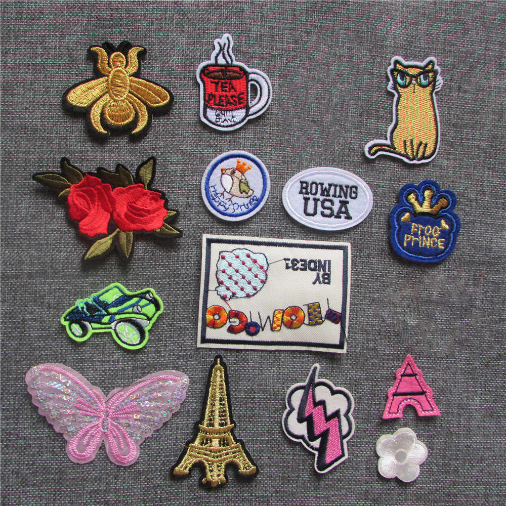 Cartoon Patches For Clothes Application Jeans Bag Applique Iron On Embroidered animal Stripes Sewing Accessories