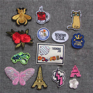 Cartoon Patches Jeans Application Sewing-Accessories Iron-On Embroidered Animal-Stripes