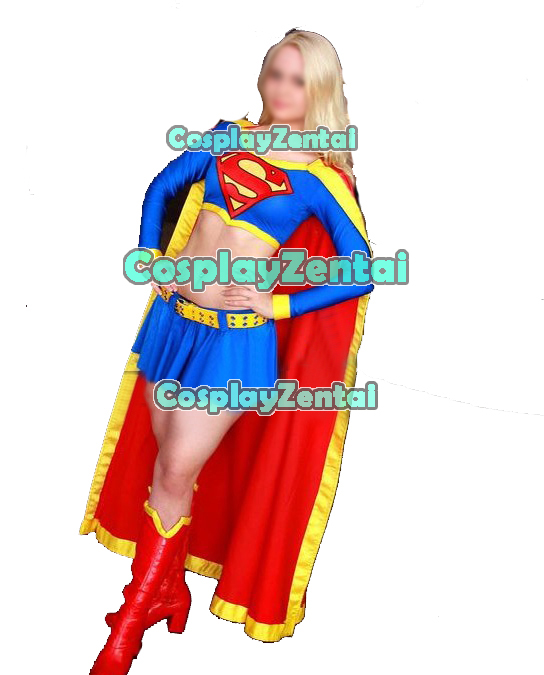 Supergirl Cosplay Costume Blue and Red Spandex Superwoman Costume Superhero Suit Cosplay Dress halloween costumes for women