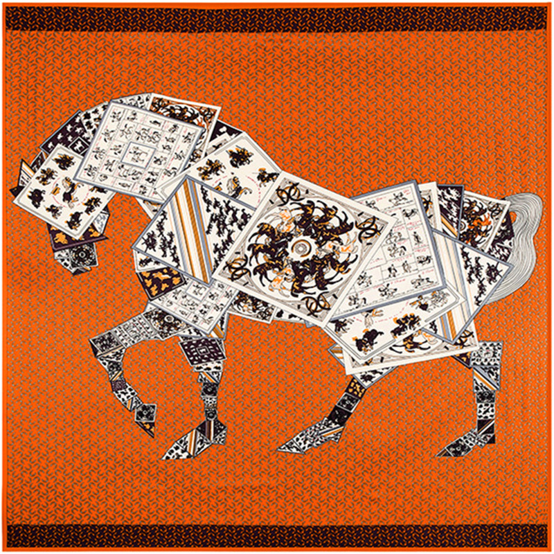130cm*130cm High Quality Large Square Scarves Twill Shawls,Luxury Brand Letter Poker Horse Print Silk Scarf For Women Headband