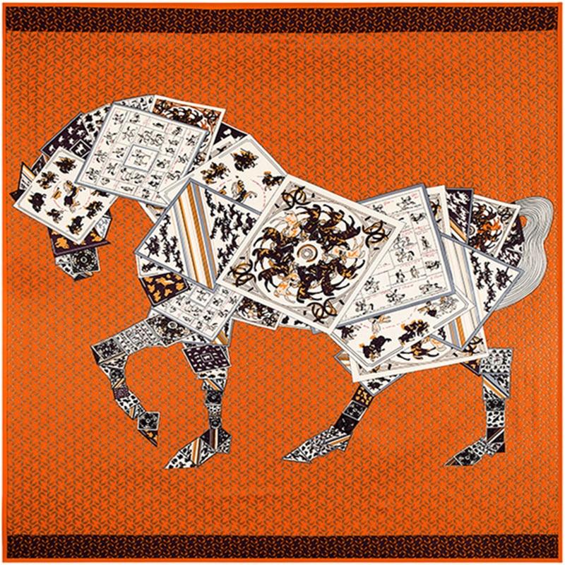 130cm Large Square Scarves Twill 100% Silk Shawls,Luxury Brand Letter Poker Horse Print Silk Scarf For Women Bandana Kerchief