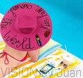 """2017 весной и летом женщины большой шляпа солнца ручной """"поцелуй его по всему миру"""" пляж соломы блестки мода шляпа"""