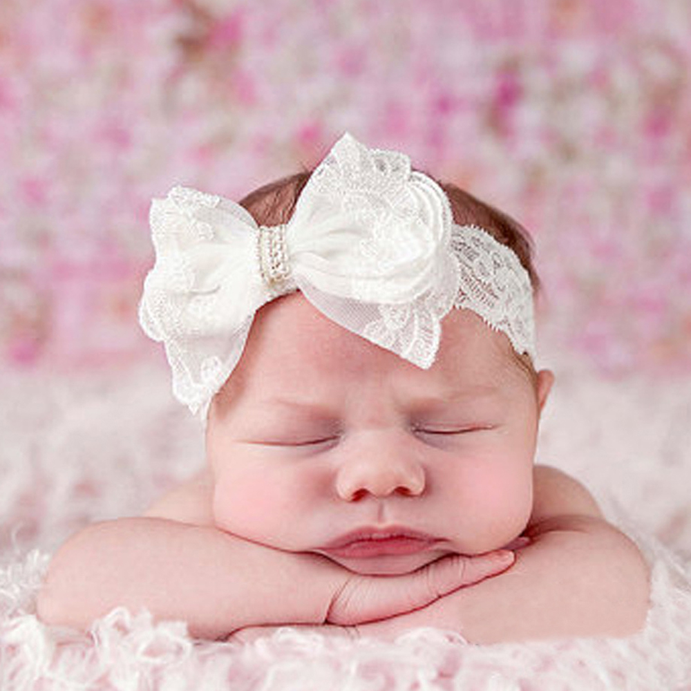 Newborn Lace Flower Bowknot Headband Baby Girl Diamond Pearl Bead Bow Hairband Infant Little Girl White Headband Kids Headwear