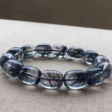Top Quality Natural Black Hair Rutilated Quartz Crystal Women Men 14x11mm Clear Barrel Beads Stone Bracelet From Brazil AAAAA