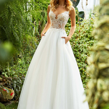 Loverxu Chic Illusion Wedding Dress Bride Dress Court Train