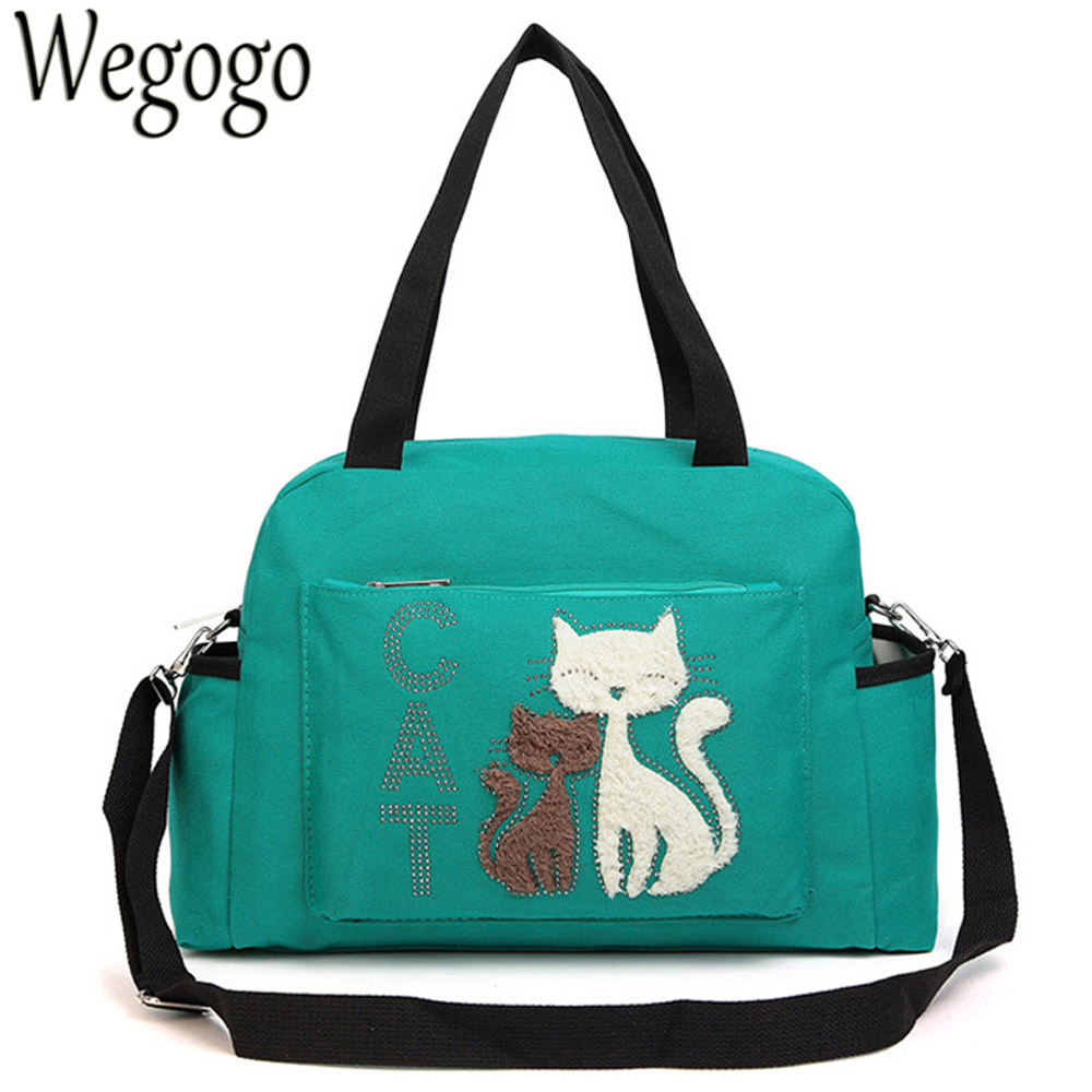 Women Shoulder Bags Female Velet Cat Print Canvas Ladies Large Capacity Casual Messenger Bag Cute Totes Handbags Bolsos Mujer kvky vintage canvas women handbags large capacity patchwork casual female shoulder bags brand messenger bag totes bolsa feminina