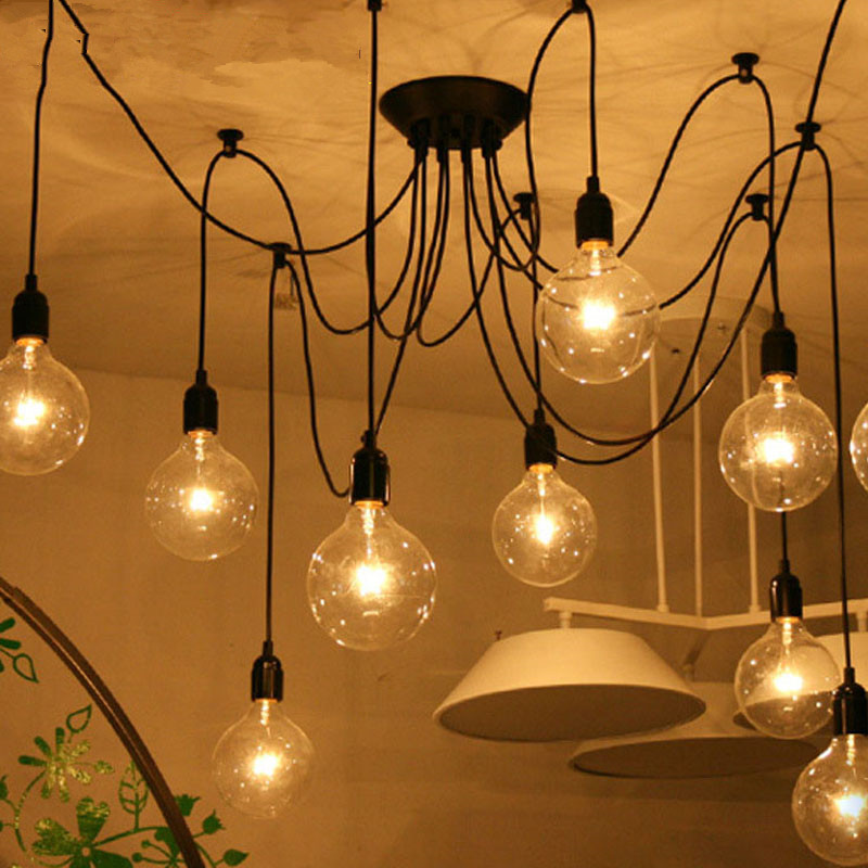 Retro Vintage Spider Pendant Lamps Loft Country Pendant Lights Industrial Creative Heavenly Maids Scatter Blossoms Home Lighting retro cafe bar long spider lamp loft light industrial creative office the heavenly maids scatter blossoms chandelier