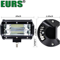 EURS TM 1pcs 5inch 72w Led Light Bar 6000k IP67 DC12V 48V Off Road Driving Car